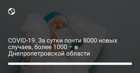 COVID-19. За сутки почти 8000 новых случаев, более 1000 – в Днепропетровской области